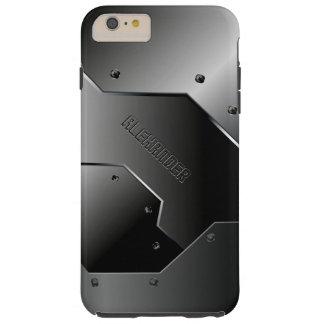 monograma de aluminio cepillado gris oscuro funda de iPhone 6 plus tough