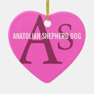 Monograma de Anatolia de la raza del perro de Adorno Navideño De Cerámica En Forma De Corazón