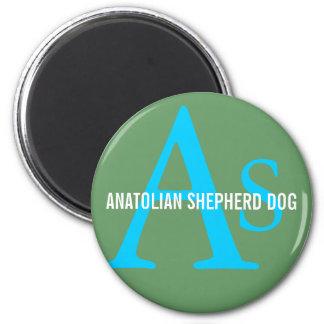 Monograma de Anatolia de la raza del perro de past Imán Redondo 5 Cm