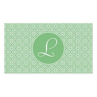 Monograma de arabesco marroquí geometría verde tarjetas de visita
