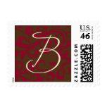 Monograma de B en remolino del rojo y del marrón Franqueo