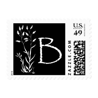 Monograma de B (planta negra de la lavanda) Envio