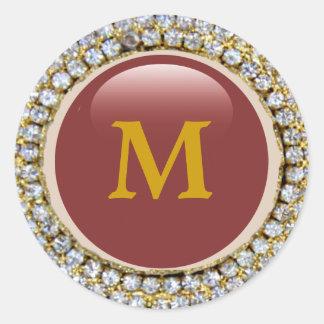Monograma de Bling Bling del oro Etiquetas Redondas