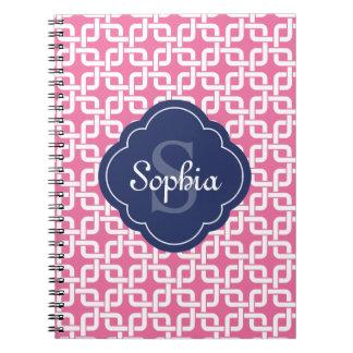 Monograma de cadena cuadrado rosado del azul del notebook