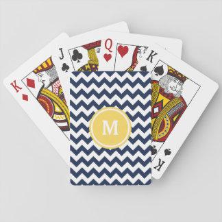 Monograma de Chevron de los azules marinos Cartas De Póquer