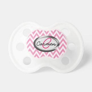 Monograma de Chevron del rosa en colores pastel Chupetes Para Bebes