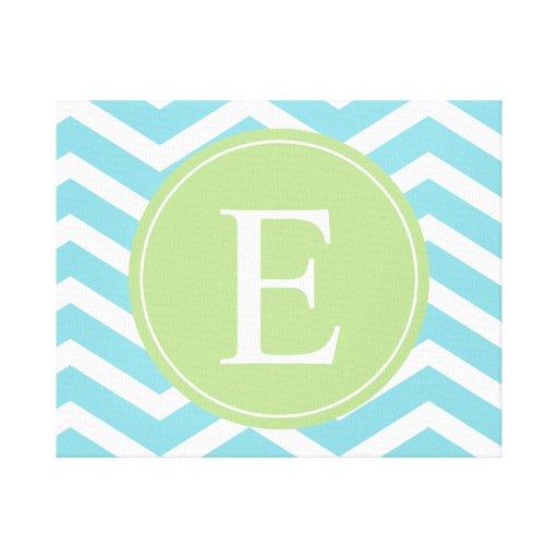 Monograma de Chevron del verde azul Impresión En Lona Estirada
