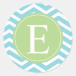 Monograma de Chevron del verde azul Etiqueta Redonda