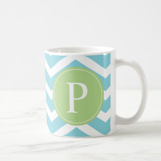 Monograma de Chevron del verde azul Taza De Café