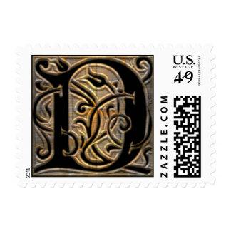 Monograma de cobre amarillo cepillado antigüedad timbre postal