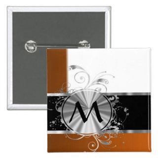 Monograma de cobre y de plata personalizado pin cuadrado