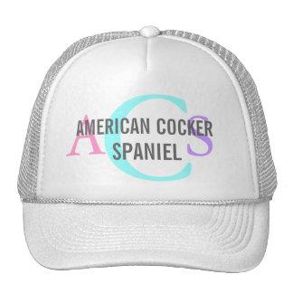 Monograma de cocker spaniel del americano gorros bordados