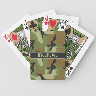 Monograma de color caqui, negro, naipes de Brown Cartas De Juego