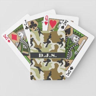 Monograma de color caqui, negro, naipes de Camo Barajas De Cartas
