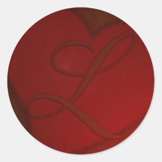 Monograma de color rojo oscuro L pegatina del cora