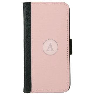 Monograma de cristal rosado del botón funda cartera para iPhone 6