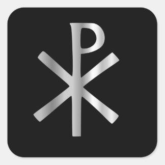 Monograma de Cristo - rho de la ji Calcomanía Cuadradas Personalizadas