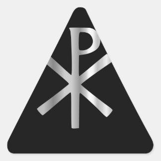 Monograma de Cristo - rho de la ji Pegatina De Triangulo