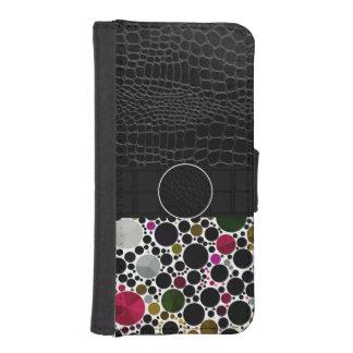 Monograma de cuero abstracto de Bling Fundas Billetera De iPhone 5