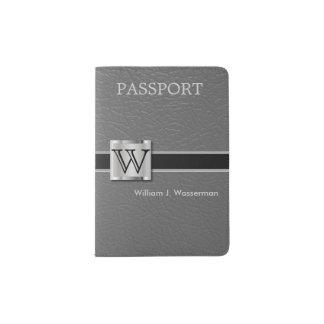 Monograma de cuero gris ejecutivo del estilo el | porta pasaportes