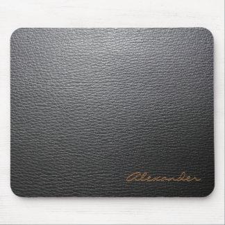 Monograma de cuero negro del personalizado del mod alfombrillas de ratones