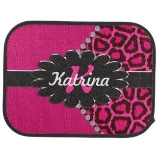 Monograma de cuero negro en guepardo rosado alfombrilla de coche