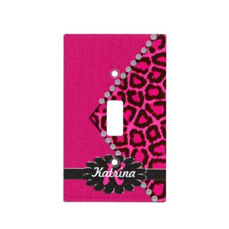 Monograma de cuero negro en guepardo rosado cubiertas para interruptor