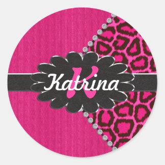 Monograma de cuero negro en guepardo rosado pegatina redonda