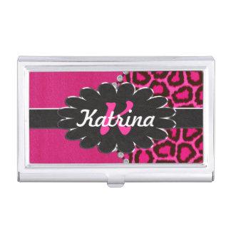 Monograma de cuero negro en guepardo rosado caja de tarjetas de negocios