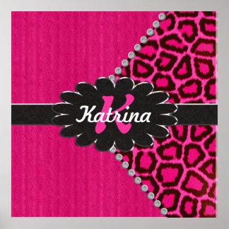 Monograma de cuero negro en guepardo rosado póster