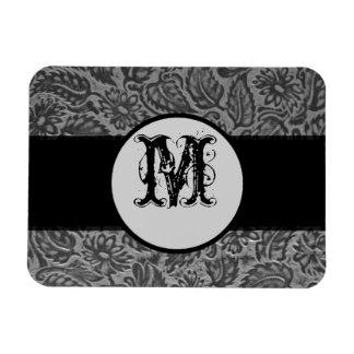 Monograma de cuero presionado negro imanes rectangulares