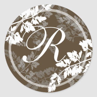 Monograma de encaje de las hojas pegatinas redondas