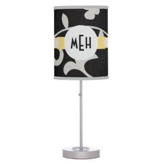 Monograma de encargo abstracto floral blanco negro lámpara de mesa