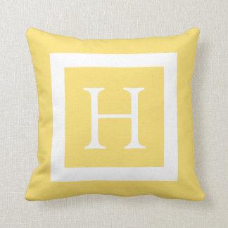 Monograma de encargo blanco amarillo almohada