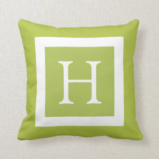 Monograma de encargo blanco de la verde lima almohadas