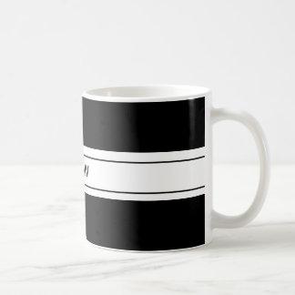 Monograma de encargo blanco negro simple masculino taza