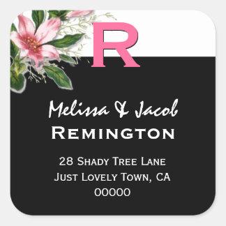 Monograma de encargo blanco R del negro rosado del Calcomania Cuadradas Personalizada