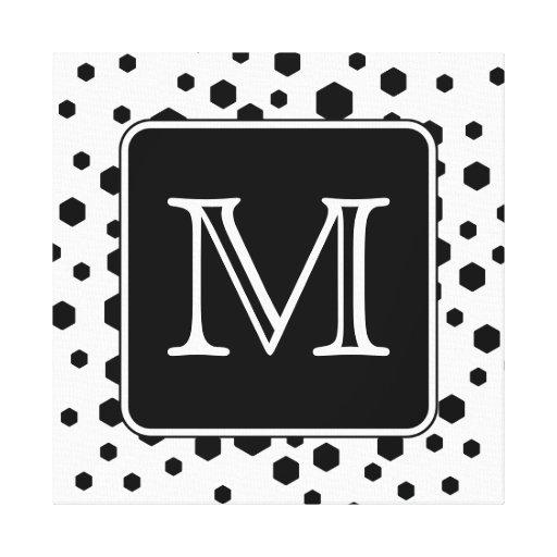 Monograma de encargo blanco y negro. Puntos del he Impresiones En Lienzo Estiradas