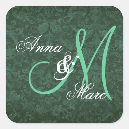 Monograma de encargo C231 del boda verde del Pegatina Cuadrada