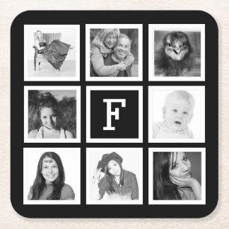 Monograma de encargo con 8 fotos cuadradas posavasos personalizable cuadrado