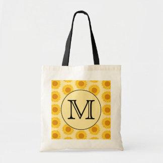 Monograma de encargo, con los girasoles amarillos bolsa lienzo