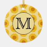 Monograma de encargo, con los girasoles amarillos adorno para reyes