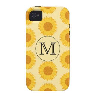 Monograma de encargo, con los girasoles amarillos vibe iPhone 4 carcasas