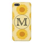 Monograma de encargo, con los girasoles amarillos iPhone 5 cárcasas
