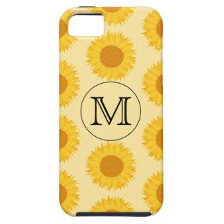 Monograma de encargo, con los girasoles amarillos iPhone 5 fundas