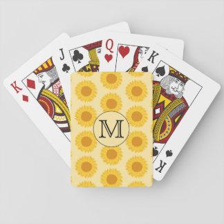 Monograma de encargo, con los girasoles amarillos baraja de póquer