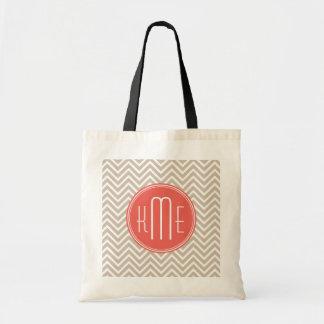 Monograma de encargo de color topo y coralino bolsa tela barata