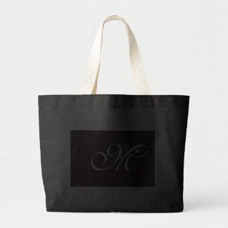Monograma de encargo de cuero agrietado elegante bolsa tela grande
