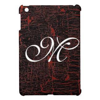 Monograma de encargo de cuero agrietado elegante c iPad mini cobertura