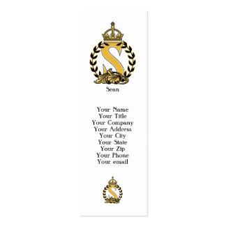 Monograma de encargo de la corona - S Tarjetas De Visita Mini